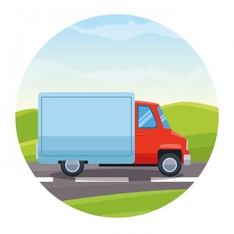 Caminhão de carga, montando o cartoon de rodovia