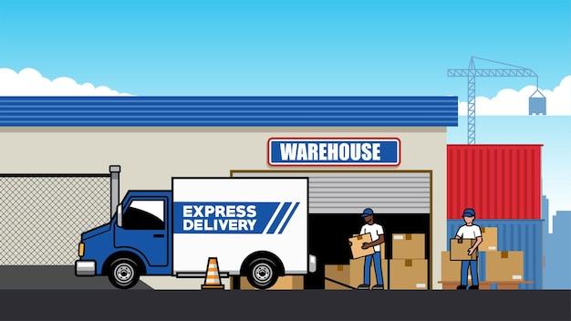 Caminhão de carga no armazém