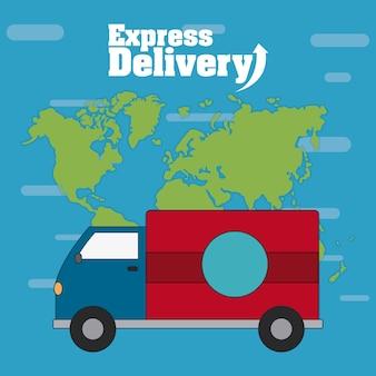 Caminhão de carga sobre o design gráfico do mundo mapa vector ilustração