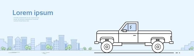 Caminhão de carro pick-up na estrada banner com espaço de cópia