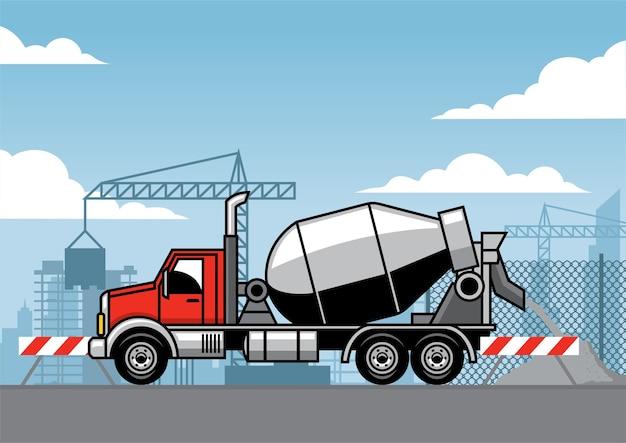 Caminhão de cimento no canteiro de obras