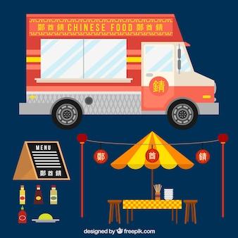 Caminhão de comida chinesa em design plano