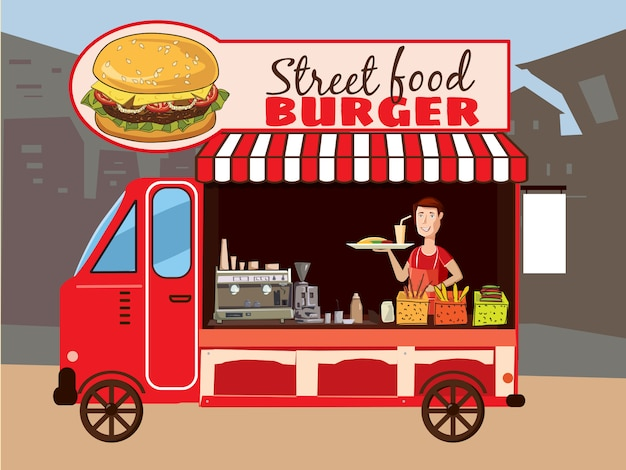 Caminhão de comida colorida vector caminhão de fast food. cozinha de rua