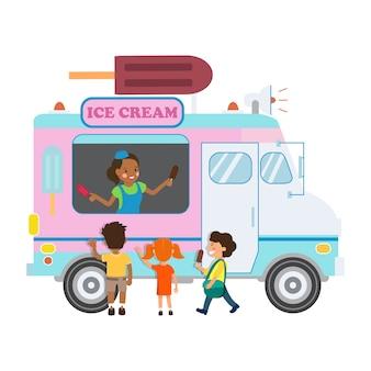Caminhão de comida com sorvete ilustração
