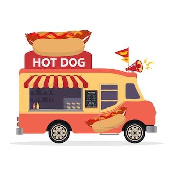 Caminhão de comida de cachorro-quente. ilustração de design plano r
