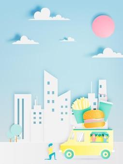 Caminhão de comida de hambúrguer em papel com a cidade