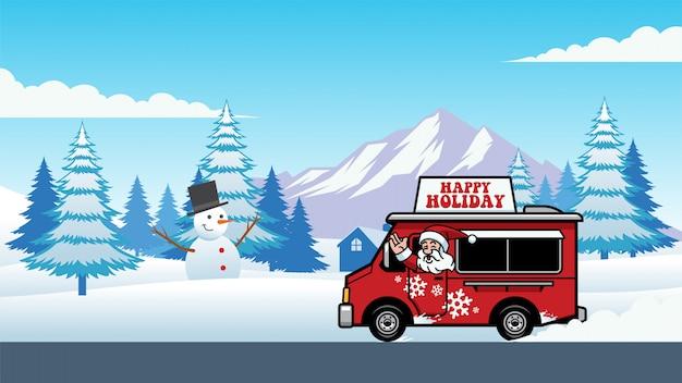 Caminhão de comida de natal com papai noel alegre