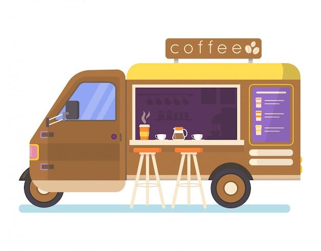 Caminhão de comida de rua definir ilustração, van de desenhos animados vendendo comida de rua chinesa ou pizza quibe no mercado, ícones de café isolados no branco