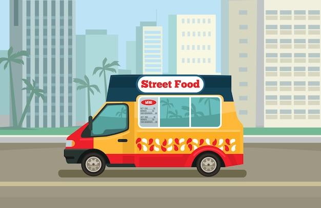 Caminhão de comida de rua. ilustração em vetor plana