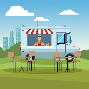 Caminhão de comida no parque
