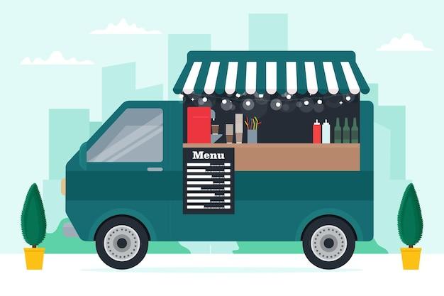 Caminhão de comida pequeno com interior moderno e fofo