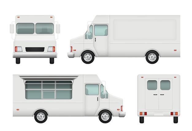 Caminhão de comida realista, automóvel branco de entrega de comida de rua catering 3d