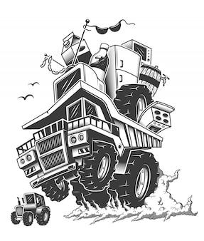 Caminhão de construção nas rodas traseiras e fumaça