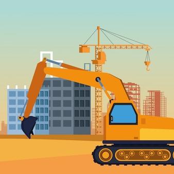 Caminhão de construção sob cenário de construção, design colorido