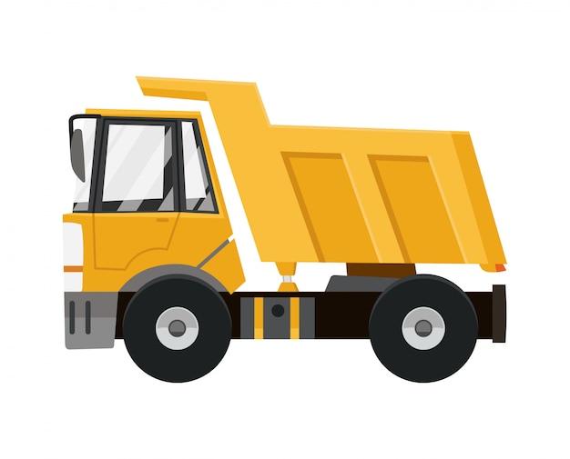Caminhão de descarga amarelo grande