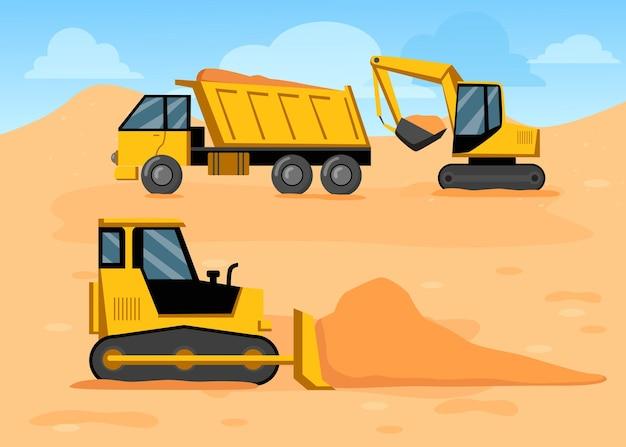 Caminhão de desenho animado, escavadeira e bulldozer no canteiro de obras Vetor Premium