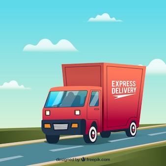 Caminhão de entrega clássico com design plano