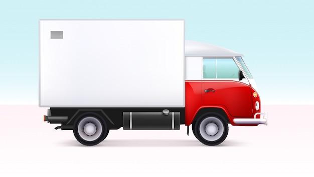 Caminhão de entrega com contêiner