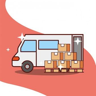 Caminhão de entrega com transporte de serviço de caixas de madeira