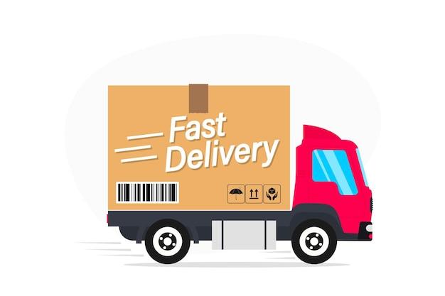 Caminhão de entrega. conceito de serviço de entrega expressa. serviço de entrega online para casa. transporte de expedição de mercadorias do produto. entregas, van de serviço rápido com caixas de papelão