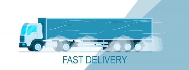Caminhão de entrega de armazenamento cinza, movendo-se na estrada banner