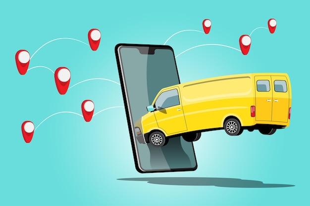 Caminhão de entrega de carro com pedido no aplicativo do smartphone e ponto de marca de verificação no mapa para transporte, ilustração