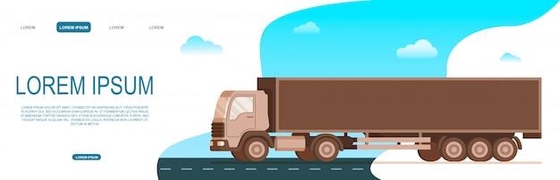 Caminhão de entrega de frete de armazenamento movendo a estrada