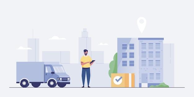 Caminhão de entrega e homem com caixas. rastreamento de aplicativo móvel.