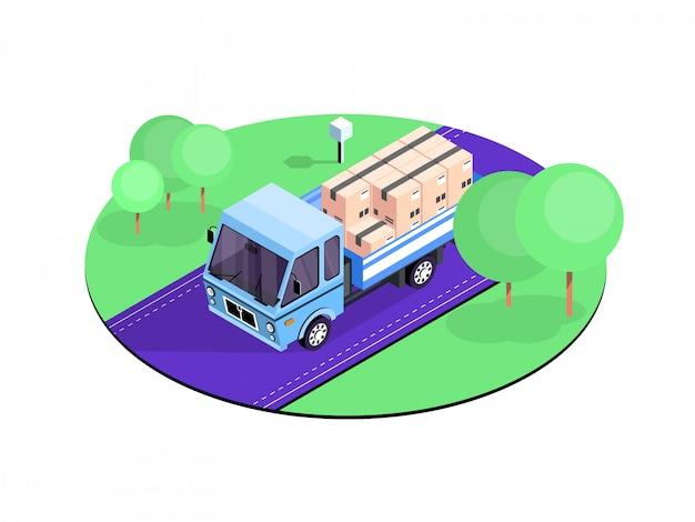 Caminhão de entrega isométrica