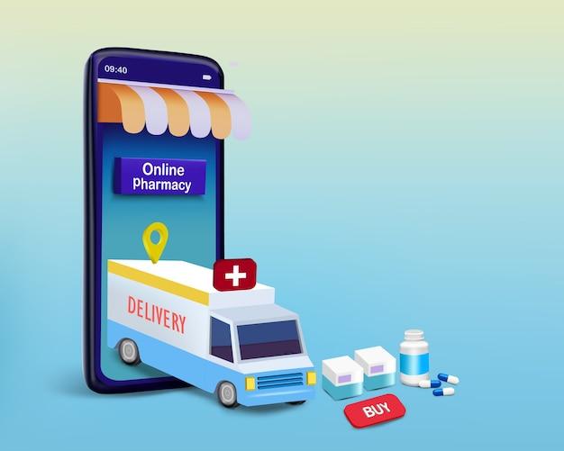 Caminhão de entrega no smartphone com remédio e caixa para farmácia online