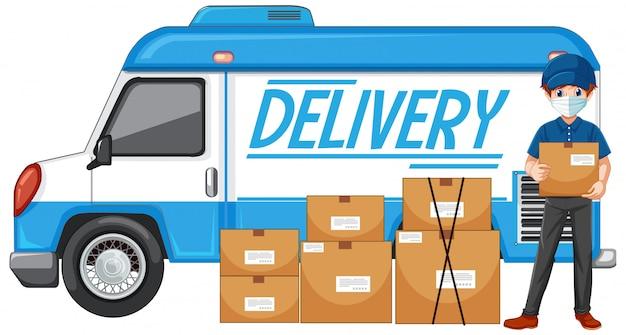 Caminhão de entrega ou van com entregador ou mensageiro em uniforme azul