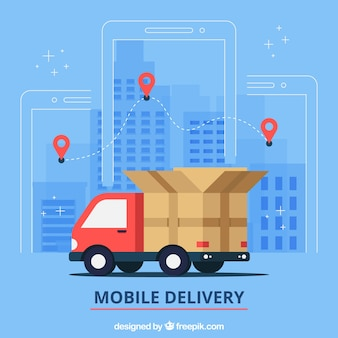 Caminhão de entrega plana na cidade
