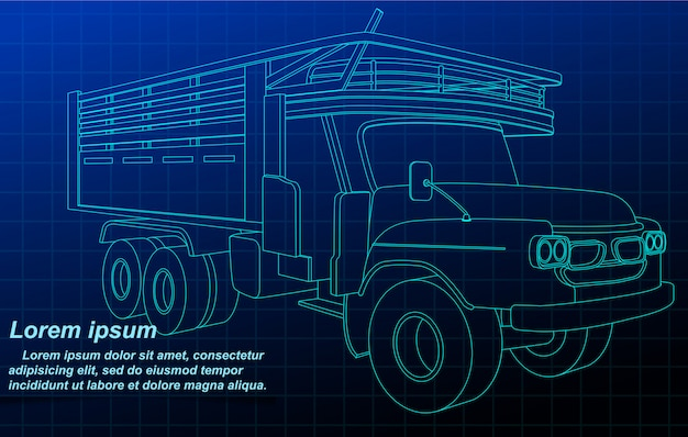 Caminhão de esboço de contorno