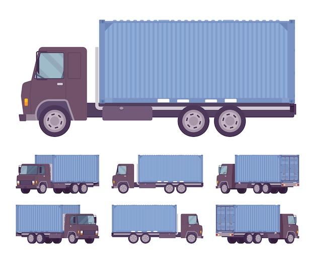 Caminhão de euro com recipiente de metal azul