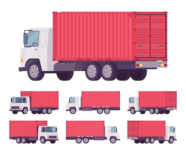 Caminhão de euro com recipiente de metal vermelho