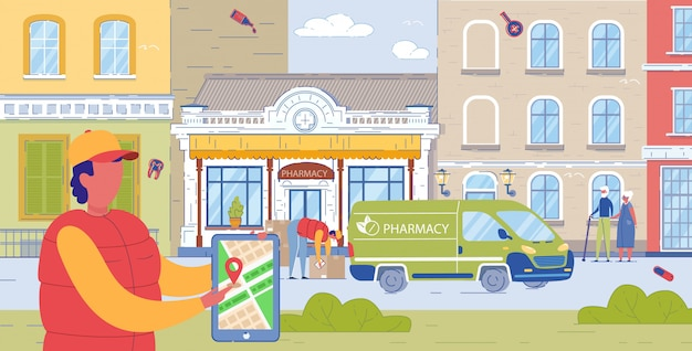 Caminhão de farmácia local que entrega pedidos aos clientes.