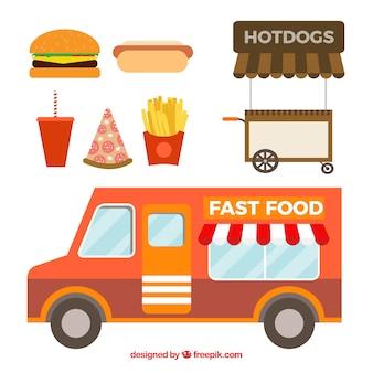 Caminhão de fast food em design plano