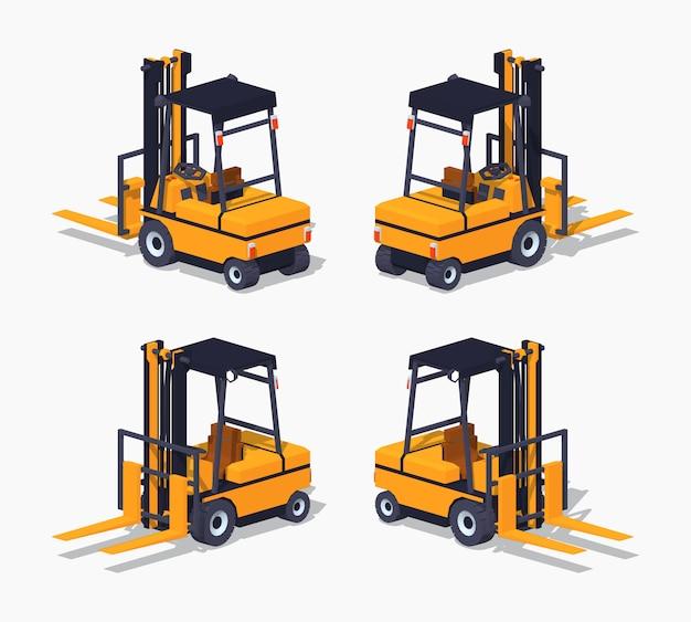 Caminhão de forklift isométrico lowpoly laranja 3d