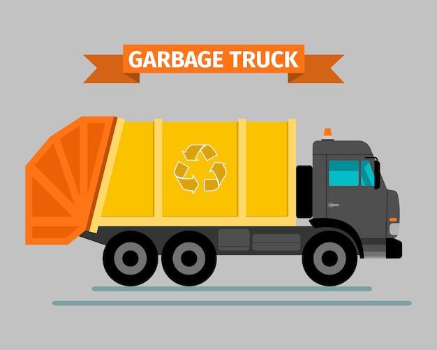 Caminhão de lixo de veículo sanitário urbano