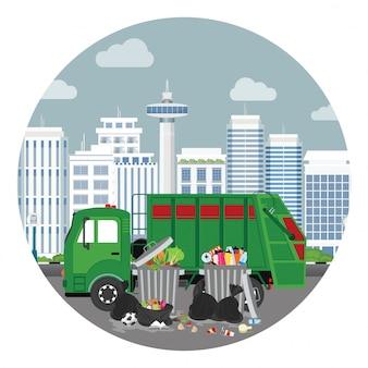 Caminhão de lixo e lata de lixo de plástico cheia de lixo transbordando.