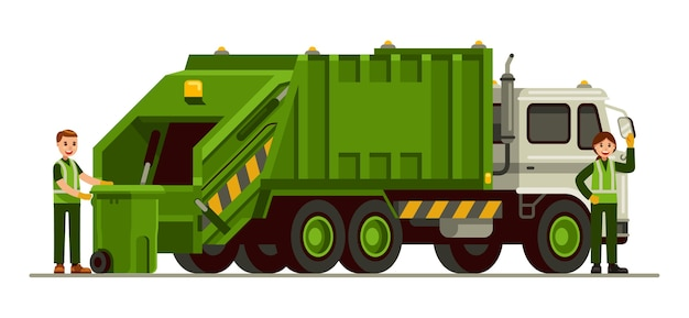 Caminhão de lixo e trabalhador de saneamento