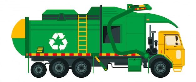 Caminhão de lixo isolado no fundo branco