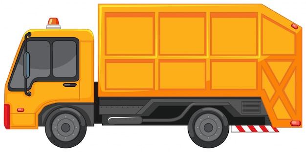 Caminhão de lixo na cor amarela