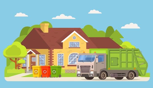 Caminhão de lixo na frente de uma casa