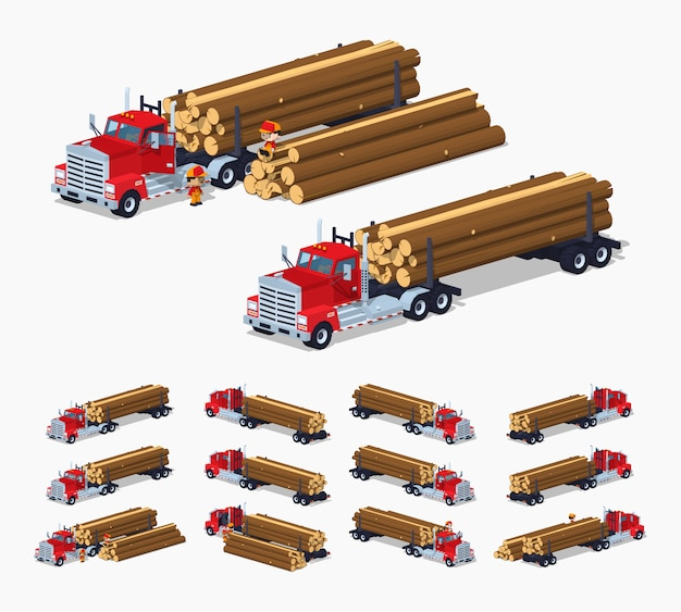 Caminhão de log 3d isométrico lowpoly com a pilha de troncos