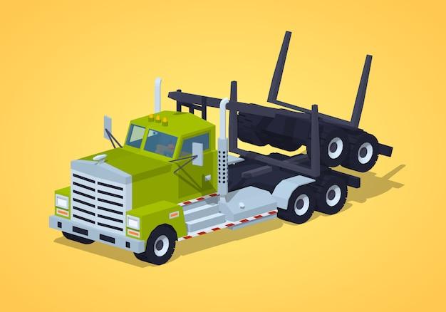 Caminhão de log dobrado baixo poli