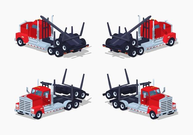 Caminhão de log isométrico lowpoly 3d dobrado