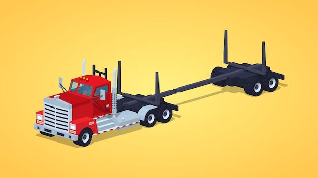 Caminhão de log vazio de baixo poli