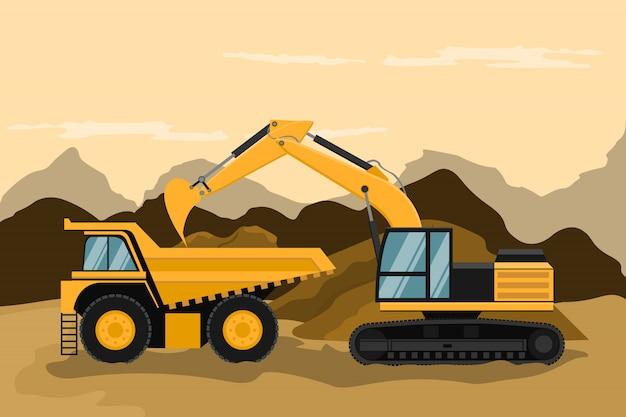 Caminhão de mineração e retroescavadeira de lagarta fazendo trabalho de construção e mineração