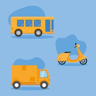 Caminhão de ônibus e veículo de motocicleta